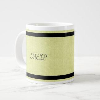 Linen Texture & Black Monogram Jumbo Mug