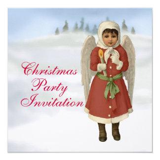 Linen Xmas Angel Christmas Party Invitation