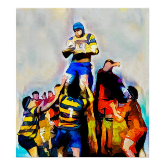 Lineout - Rugby Watercolour Art Print