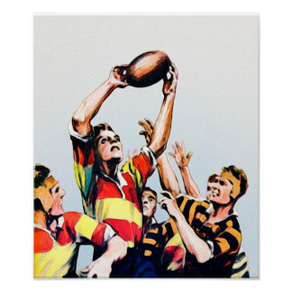 Lineout - Rugby Watercolour Print