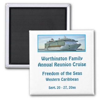 Liner Cruise Ship RFNW2 White Personalized Square Magnet