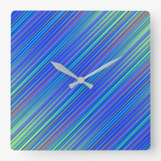 Lines 103, blue and green multi hued gradated line square wall clock