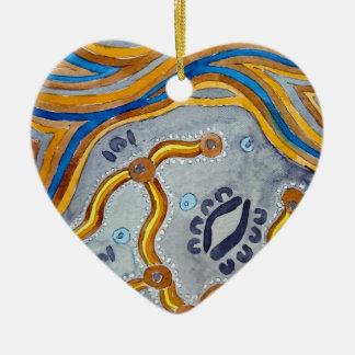 Lines - Authentic Aboriginal Arts Ceramic Ornament