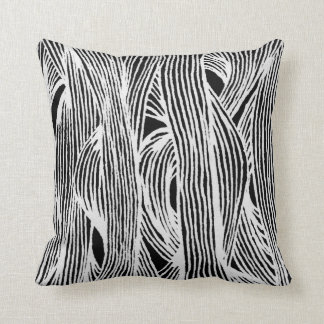 Lines fibers organically samples black-and-white cushion