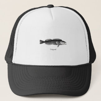 Lingcod (black and white) trucker hat