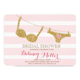 Lingerie Bridal Shower Invitation Pink & Gold