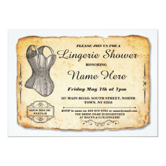 Lingerie Bridal Shower Party Vintage Corset Invite
