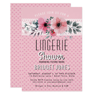 Lingerie Bridal Shower Pink Floral Hearts Lace Card