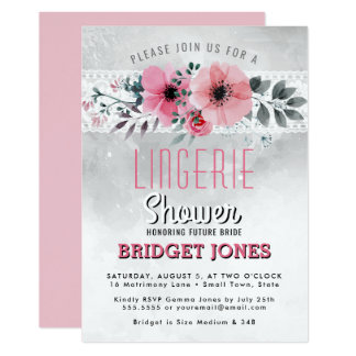 Lingerie Bridal Shower Pink Watercolor Floral Lace Card