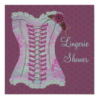 Lingerie Bridal Shower Plum Teal Corset Damask Card