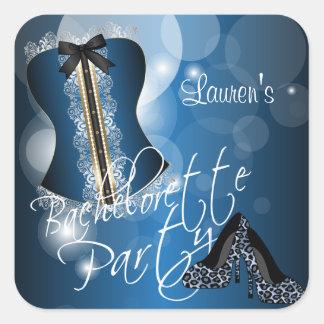 Lingerie Corset Bachelorette | Blue Square Sticker