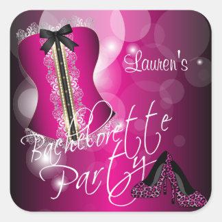 Lingerie Corset Bachelorette | Hot Pink Square Sticker