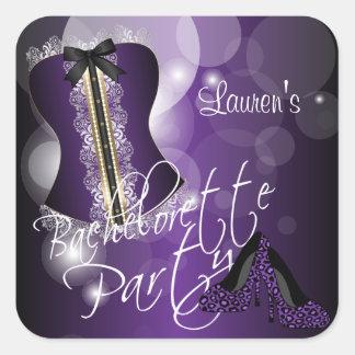 Lingerie Corset Bachelorette | Purple Square Sticker