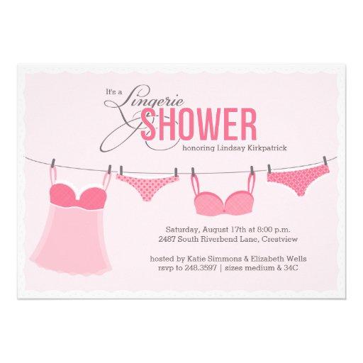 Lingerie Line Lingerie Shower Invitation in Pink Custom Invitations
