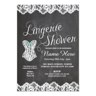 Lingerie Shower Bridal Party Corset Chalk Invite