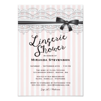 """Lingerie Shower Chic Lace Garter Party Invitation 5"""" X 7"""" Invitation Card"""