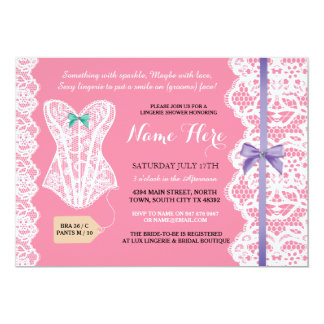 Lingerie Shower Invitation Pink Bridal Party Lace