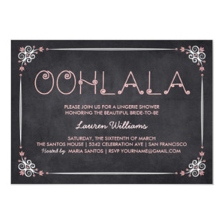 Lingerie Shower Invitations Chalkboard & Pink