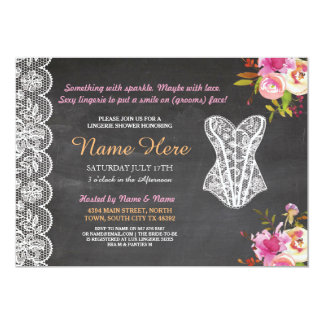 Lingerie Shower Invite Floral Bridal Party Lace