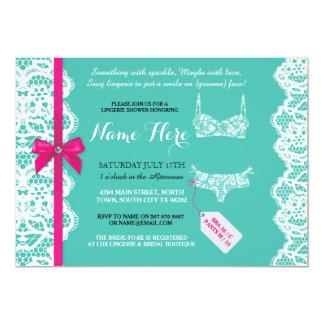 Lingerie Shower Invite Mint Pink Bridal Party Lace