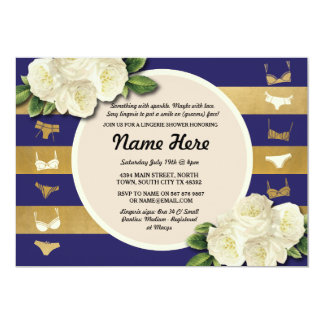 Lingerie Shower Invite Navy Stripes Bridal Party