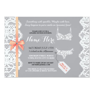 Lingerie Shower Invite Peach Bridal Party Lace