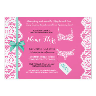 Lingerie Shower Invite Pink Bridal Party Lace Bow