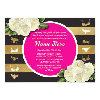 Lingerie Shower Invite Pink Floral Bridal Party
