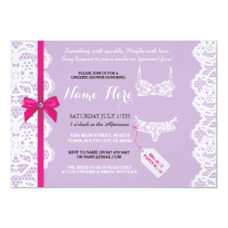 Lingerie Shower Invite Purple Bridal Party Lace