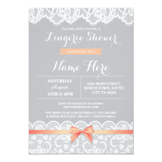 Lingerie Shower Lace Grey Coral Bow Invitation