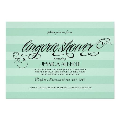 Lingerie Shower Mint Green and Black Invitation