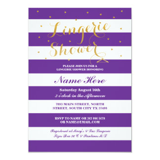 Lingerie Shower Stripe Purple Gold Party Invite