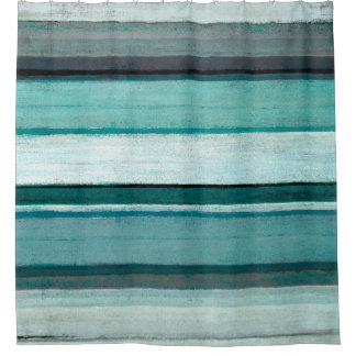 'Link' Teal and Grey Abstract Art Shower Curtain