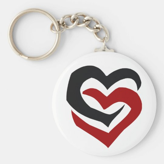 Linked Hearts Basic Round Button Key Ring