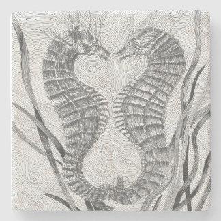 Linked Seahorses Marble Stone Coaster