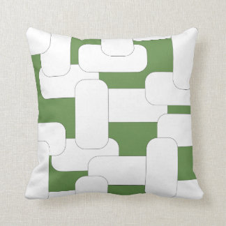 Linked White & Green Throw Pillow