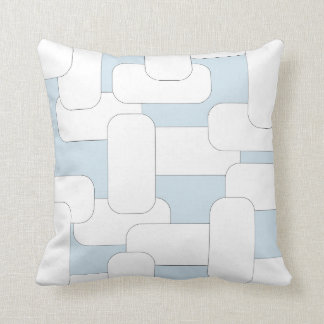 Linked White & Light Blue Throw Pillow