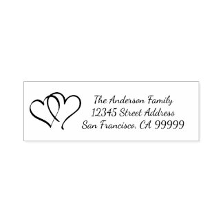 Linking Hearts - Self Inking Address Stamp