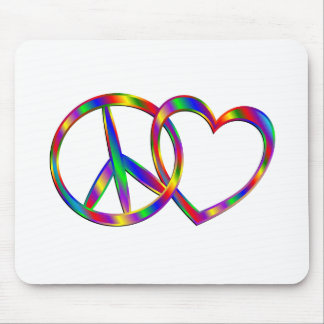 Linking Peace Sign and Heart Mouse Pad