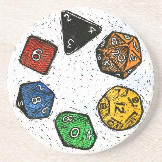 Lino-print Game Dice Coaster