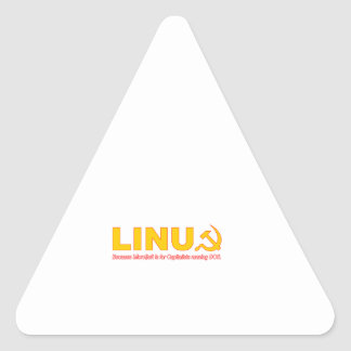 Linux because Microsoft is for capitalists Triangle Sticker
