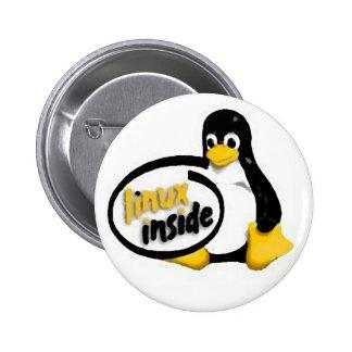 LINUX INSIDE Tux the Linux Penguin Logo 6 Cm Round Badge