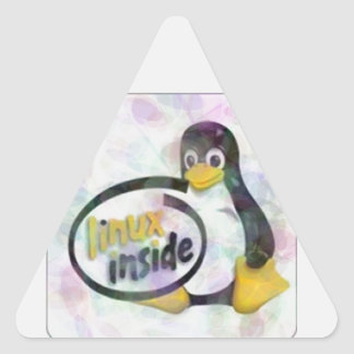 LINUX INSIDE Tux the Linux Penguin Logo Triangle Stickers