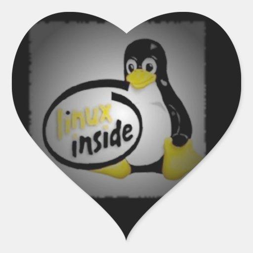 LINUX INSIDE Tux the Linux Penguin Logo Heart Stickers