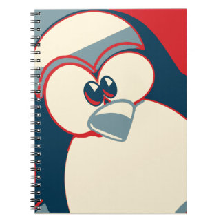 Linux Tux Obama poster red blue Note Books