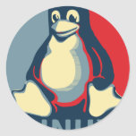 Linux tux penguin classic obama poster round sticker