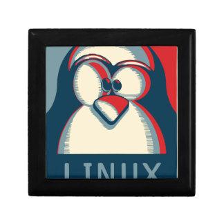 Linux tux penguin obama poster logo small square gift box