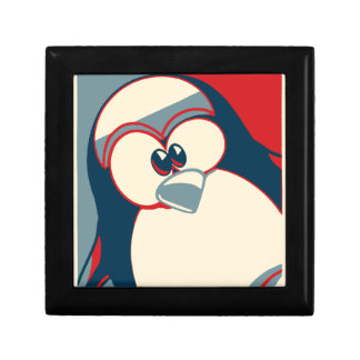Linux Tux penguin Obama poster Small Square Gift Box