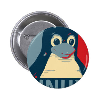 Linux Tux penguin poster head red blue 6 Cm Round Badge