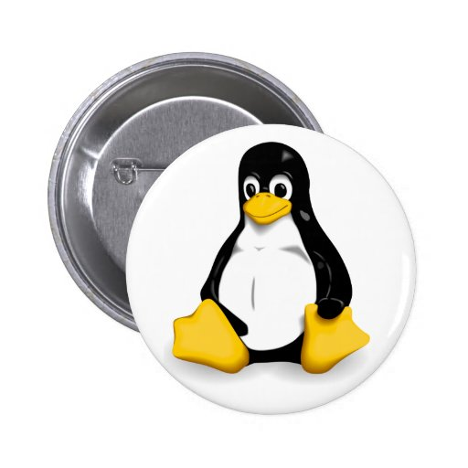 Linux Tux Pin back Button